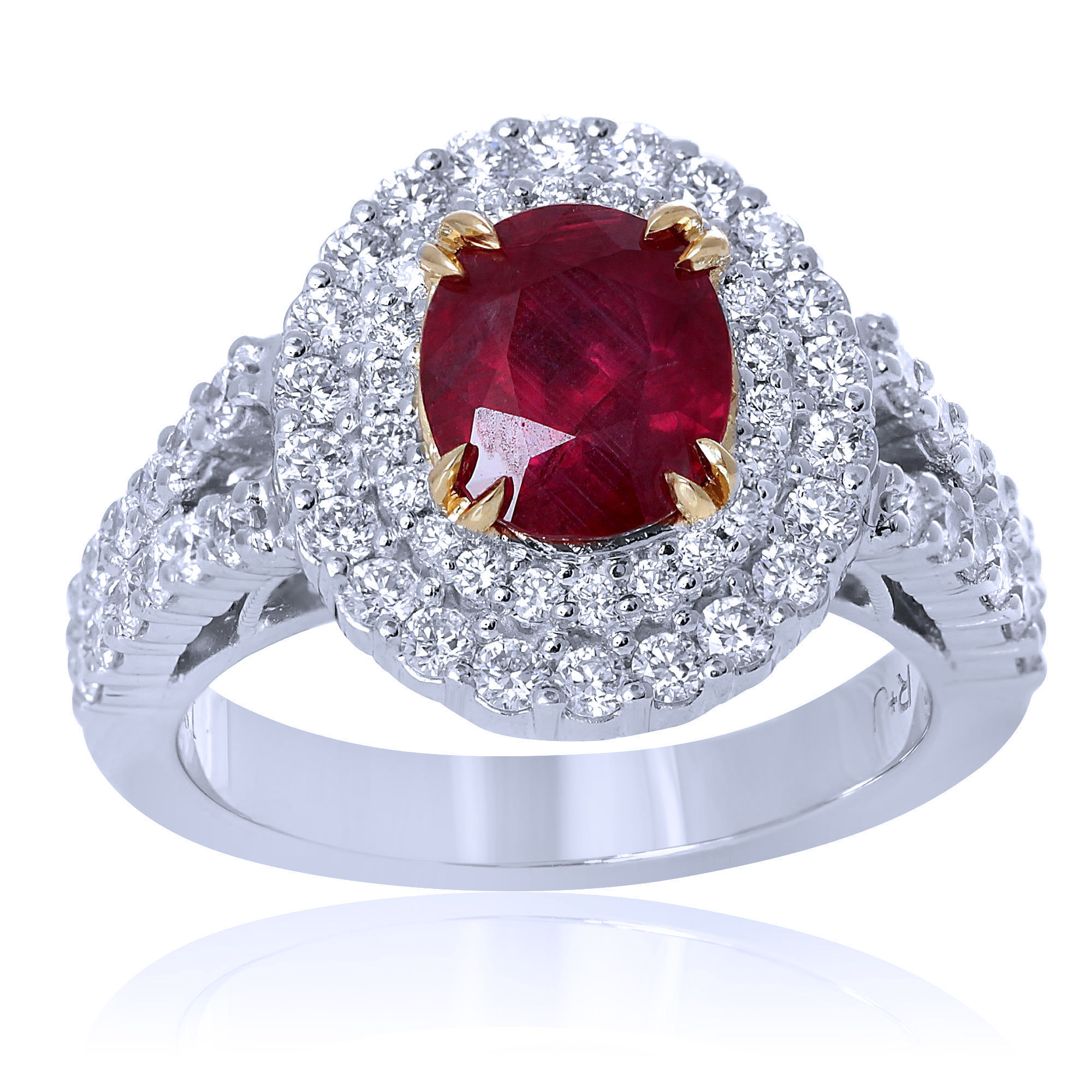 synthetic in red gold ring rings diamond estate stone white
