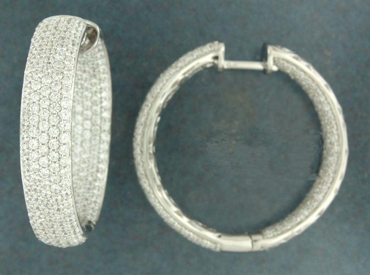 E137307w Rhodium Coated Sterling Silver Hoop Earrings 31mm